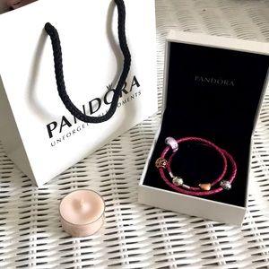 Pandora charm bracelet leather silver rose gold